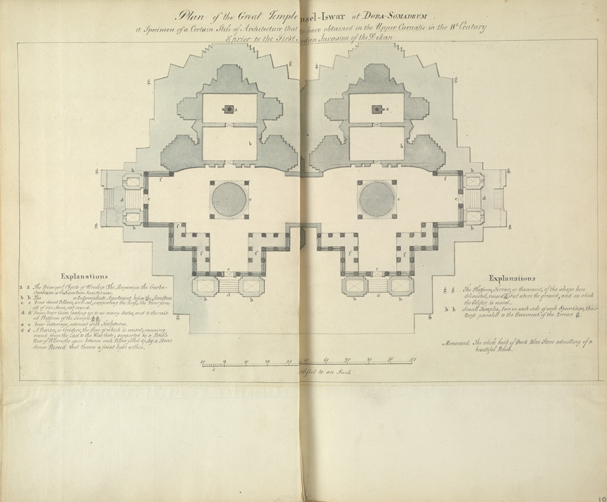 Ground plan of the Hoysalesvara Temple, Halebid. 'Plan of the Great Temple at Ouncel Iswar at Dora Somadram.